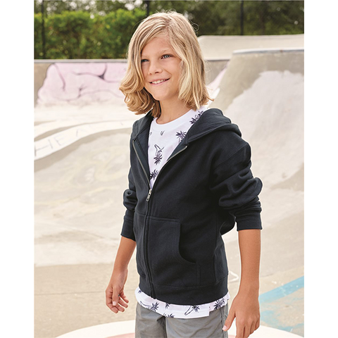 Independent Trading Co Youth Midweight Hooded Full Zip Sweatshirt
