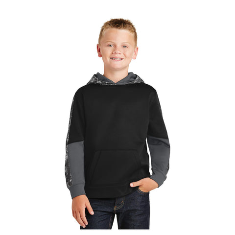 Sport-Tek Youth Sport Wick Mineral Freeze Fleece Colorblock Hooded Pullover