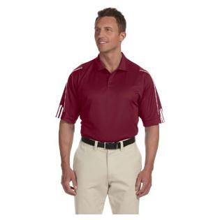Adidas Mens climalite 3 Stripes Cuff Polo