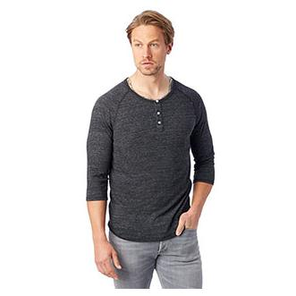 Alternative Apparel Mens Eco Jersey 3/4 Sleeve Raglan Henley