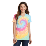 Port & Company Ladies Tie Dye V Neck Tee