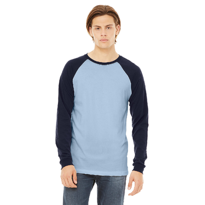 Bella + Canvas Mens Jersey Long Sleeve Baseball T-Shirt