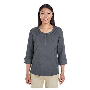 Devon & Jones Ladies Central Cotton Blend Mlange Knit Top