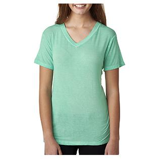 J America Ladies Oasis Wash V Neck T-Shirt