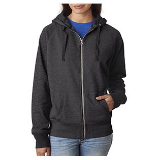 J America Ladies Glitter French Terry Contrast Full Zip Hood