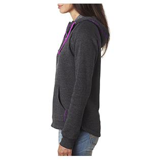 J America Ladies Triblend Half Zip Hood
