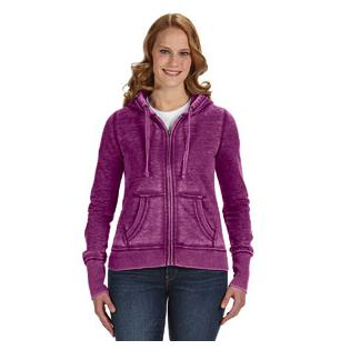 J America Ladies Zen Full Zip Fleece Hood
