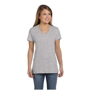 Hanes Ladies Ringspun V Neck Nano T