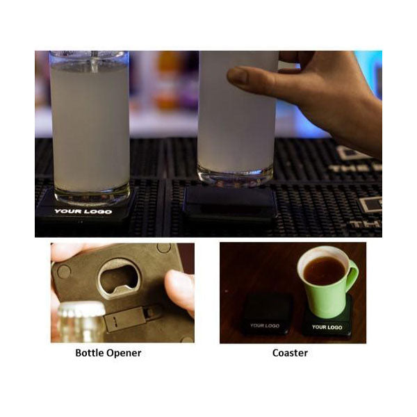 iCoaster ( Coaster & Bottle Opener with Light Up Logo)