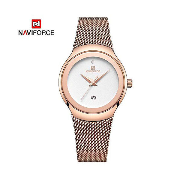 Naviforce Women's Watch Gold Metal Stainless Steel Belt