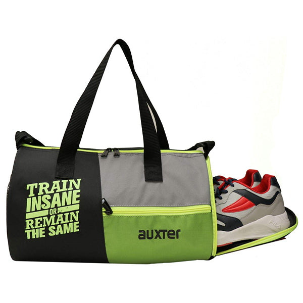 Train Insane Green Sports Duffel Gym Bag with Shoe Compartment