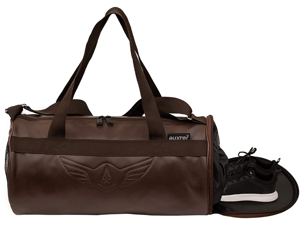 AUXTER Brown Leatherette Gym Duffel Bag with Shoe Compartment