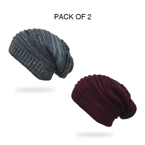 Textured Slouchy Combo Beanie Cap