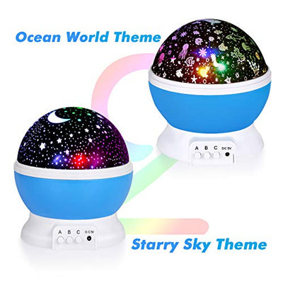 2 in 1 Kids Night Light Moon Star Projector and Undersea Lamp