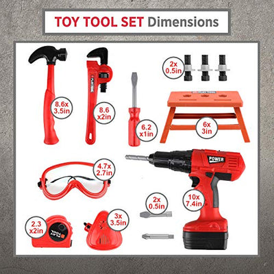 Kids Tool Set with Power Toy Drill - 12 Tool Playset for Kids