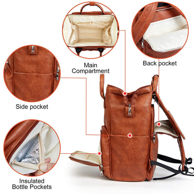 Leather Diaper Bag Backpack with Changing Mat - Travel Baby Diaper Bookbag