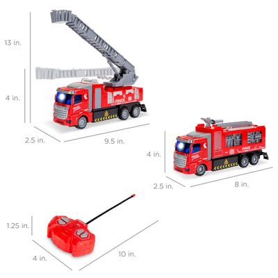 2-Pack Remote Control Fire Truck Toy RC Cars with LED Lights, 2 Controllers for Kids