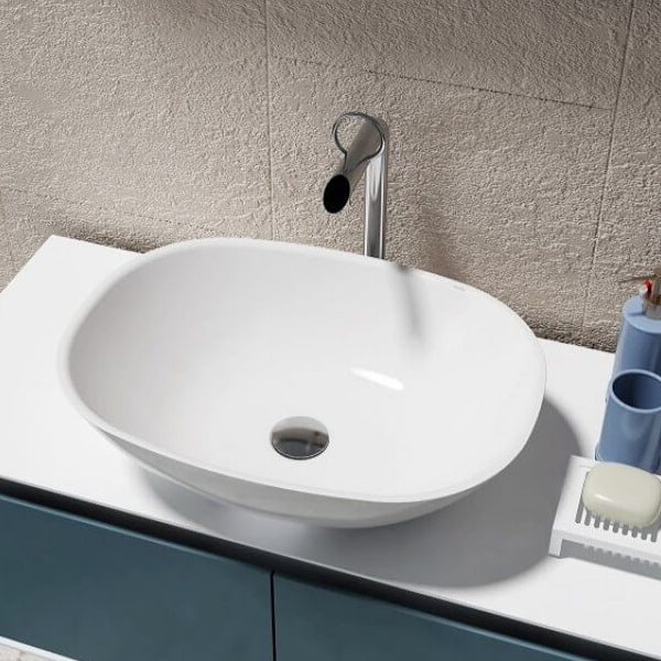 Amber Oval Solid Surface Basin 550mm