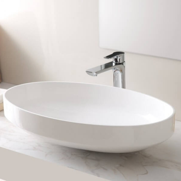 Crown Oval Stone Basin Matte White 515mm/670mm