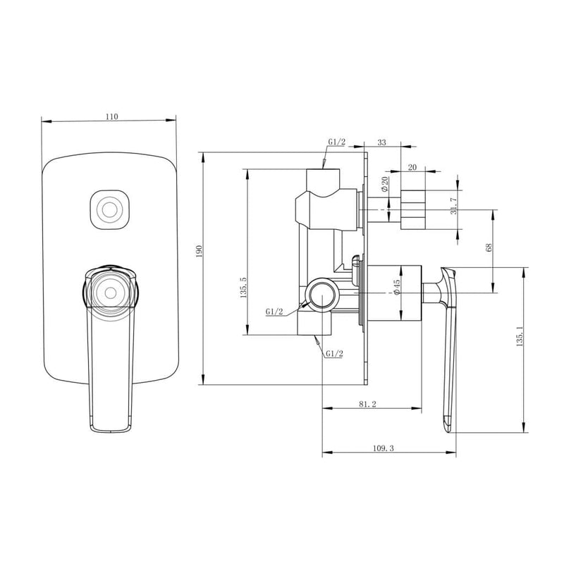 Esperia Wall Mixer with Diverter