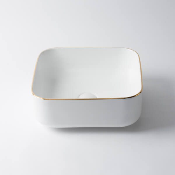 Kensington Square Ceramic Basin Gold/Silver Trim 385mm