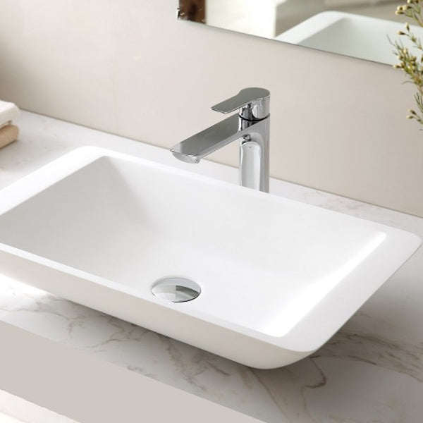 Monarco Rectangular Stone Basin Matte White 595mm