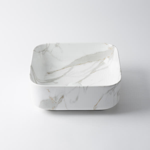 Regency Square Ceramic Basin Marble Pattern 390mm