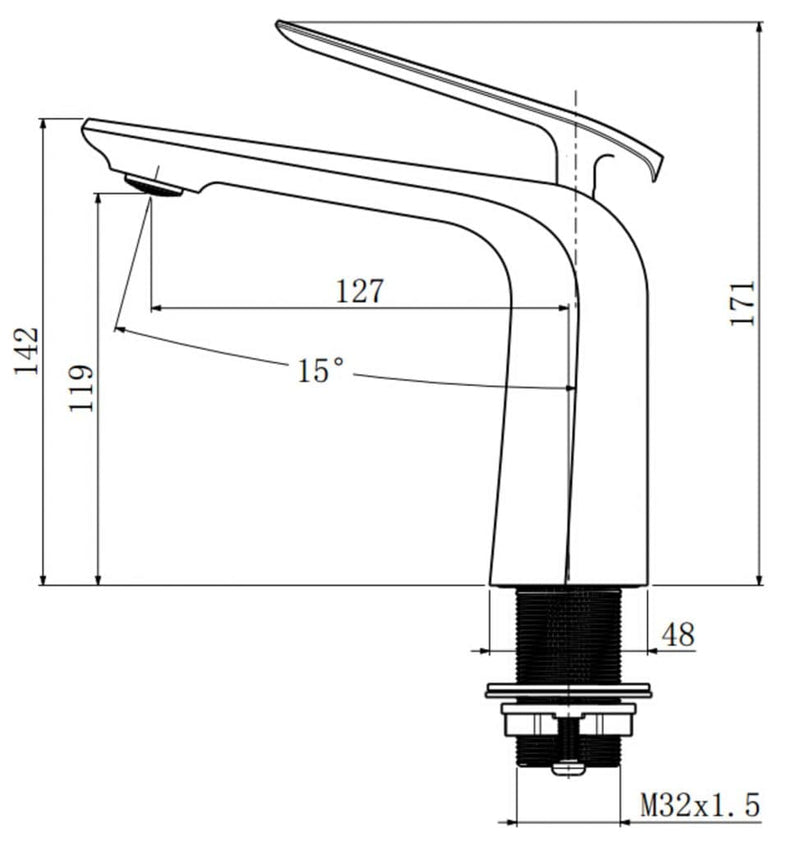 Esperia Short Basin Mixer