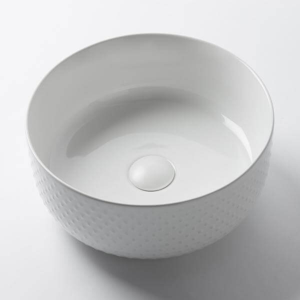 Seymour Stud Ceramic Basin Gloss White