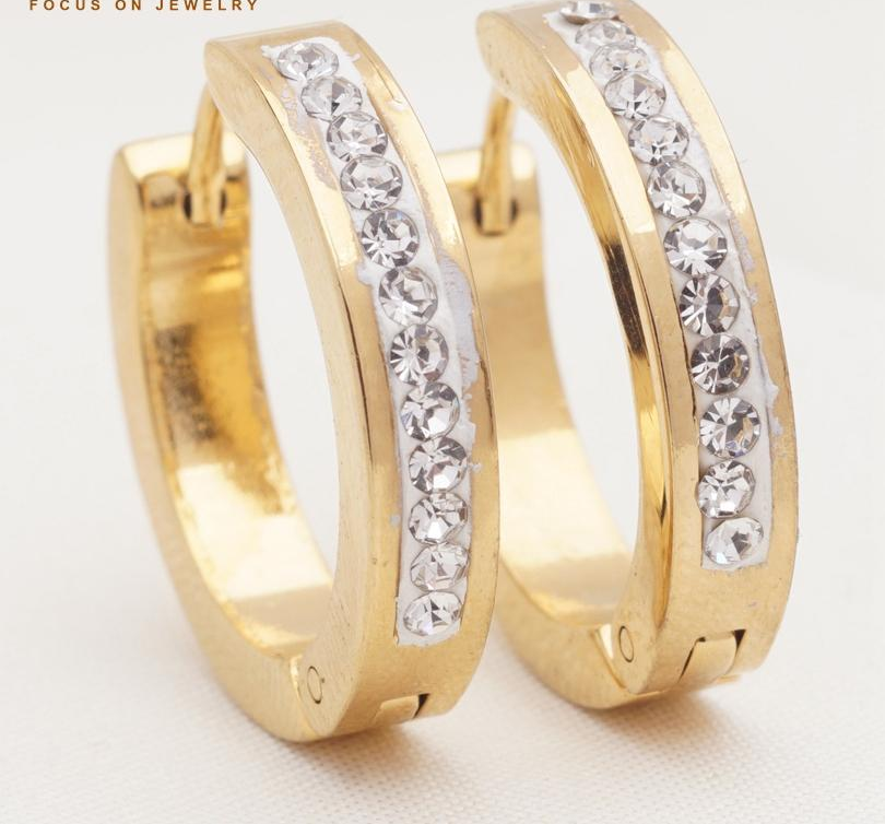 top quality jewelry rhinestone crystal circle earrings stainless steel