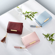Load image into Gallery viewer, Elegant Solid Color Tassels Faux Leather Women Short Wallet Card Holder Purse
