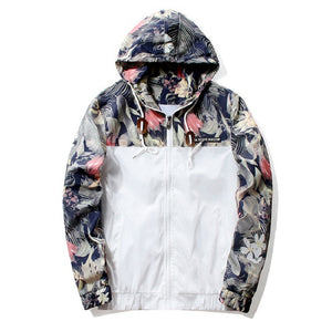 Fashion Men Floral Camouflage Thin Hooded Jacket Outdoor Casual Wear Loose Coat