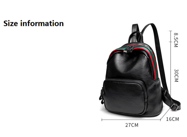 PU Leather Women Backpack Solid School Bags For Teenager Girls Large Capacity Casual Women Backpack AS-007