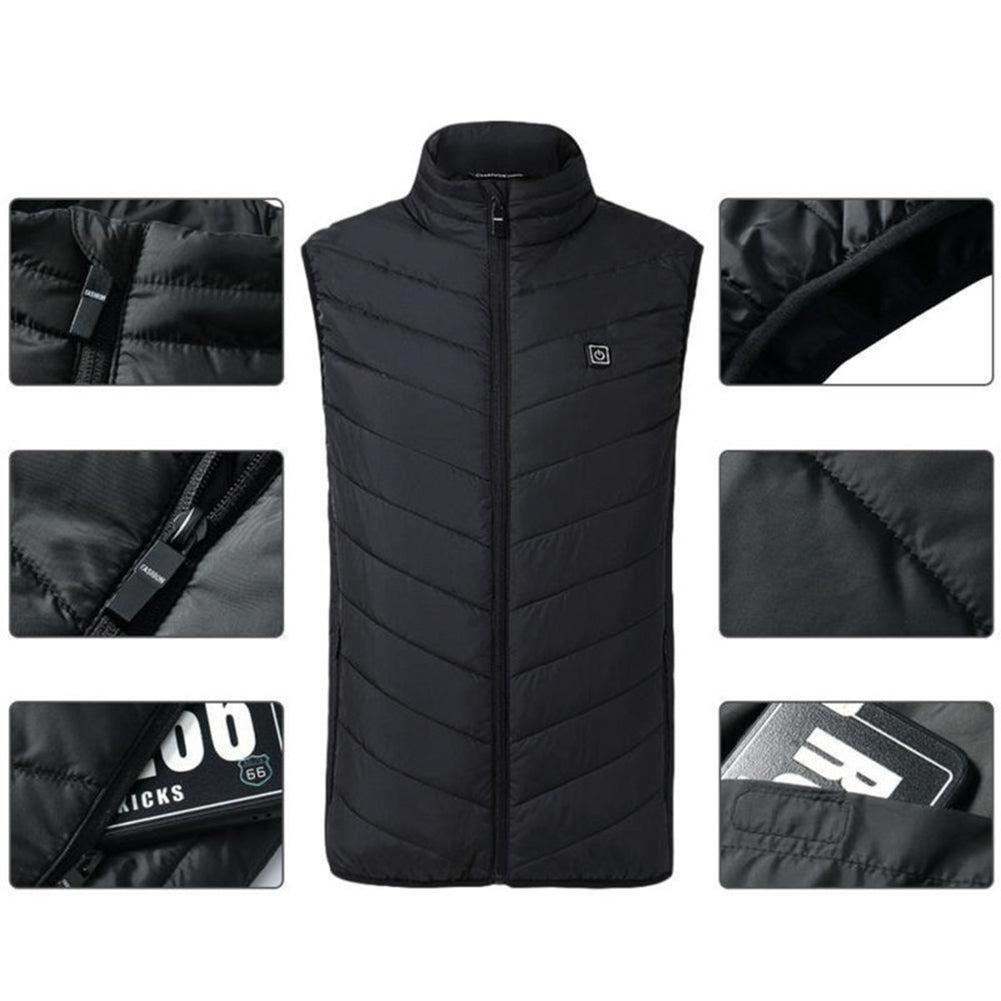Winter Men USB Electric Heated Warm Rechargeable Heating Vest Waistcoat Jacket