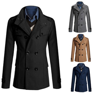 Stylish Men Slim Double Breasted Long Sleeve Jacket Winter Trench Coat Outwear