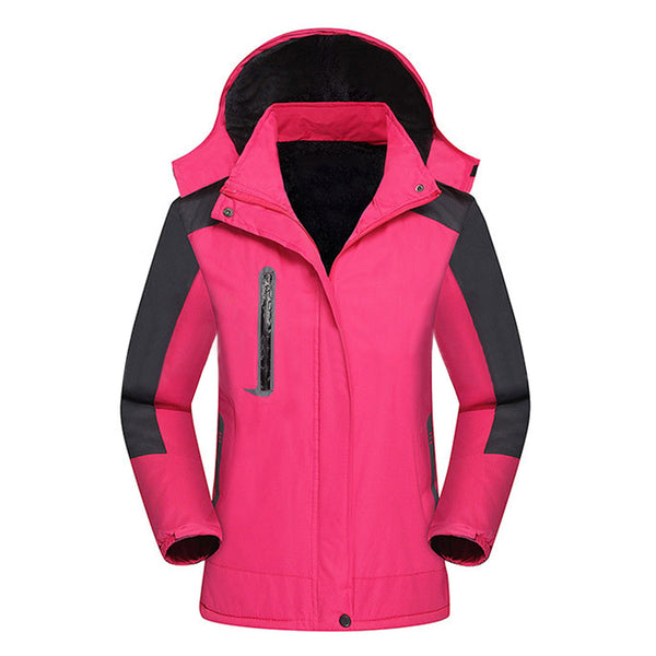 Outdoor Hiking Climbing Women Long Sleeve Hooded Thicken Plush Warm Jacket Coat