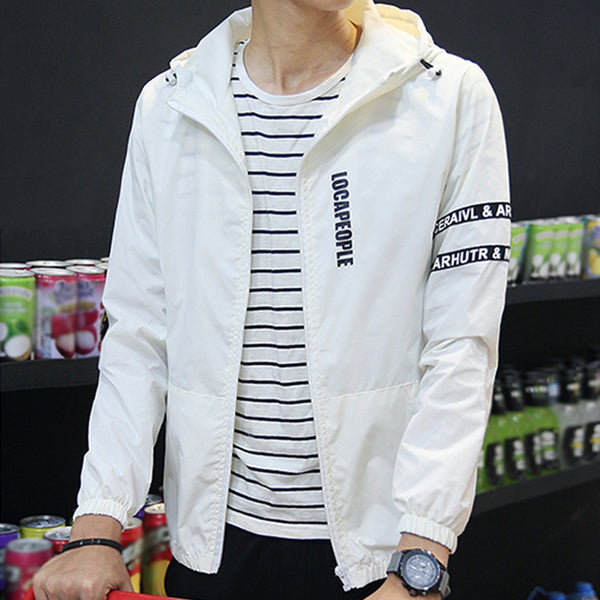 Fashion Slim Fit Young Men Hooded Jacket Thin Jackets Casual Zipper Coat