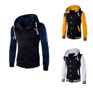 Hot Men Hooded Color Block Slim Fit Baseball Sport Jacket Casual Coat Outwear