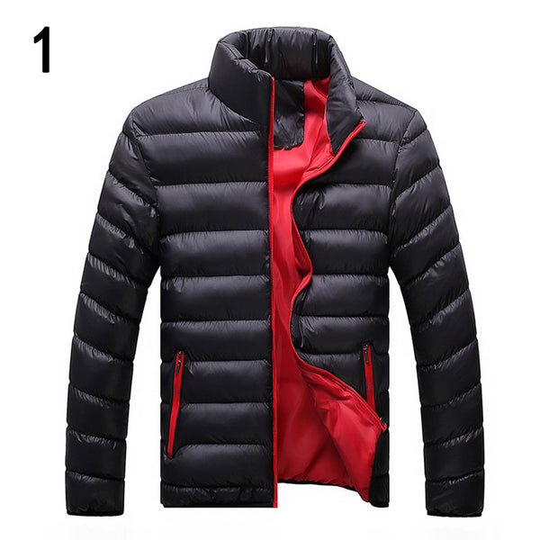 Winter Men Solid Color Down Jacket Stand-up Collar Long Sleeve Coat Outwear