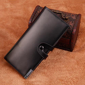 Men Faux Leather ID Card Holder Button Closure Long Bifold Wallet Business Purse