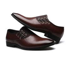 Load image into Gallery viewer, Men's Shoes New Style Patent Leather Office / Casual Fashion Comfort Black / Orange Oxfords/Brown Oxfords
