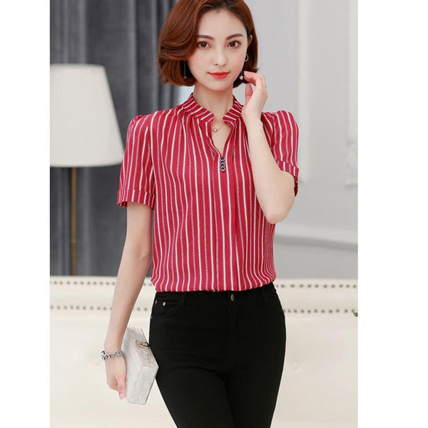 2017 Summer Style Womens Blouses Ladies Tops Women Blouse Shirt Casual Short Sleeve V-Neck Chiffon Print Shirts Plus Size Blusas