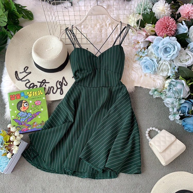 New Summer Women Sexy V neck Backless Spaghetti Strap Dress