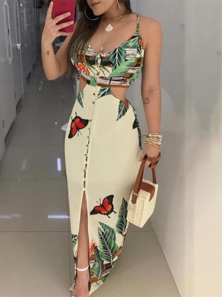 Female Maxi Dress Ladies V-Neck Spaghetti Strap Tropical Print
