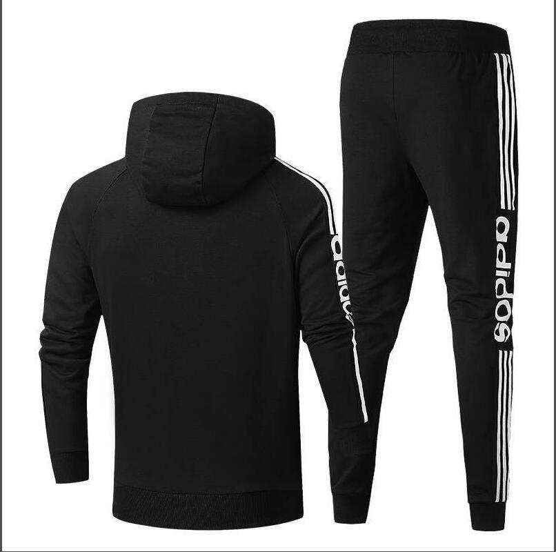 2020Hot Long sleeve Men Sets Hooded Tracksuit Track Sweat Suits Three Stripes Male Sweatsuit Mens Sporting Suits Mens Clothing
