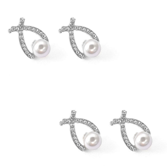 Earrings Round Artificial Pearl And Rhinestone Stud Earrings for Women Girls 2pairs