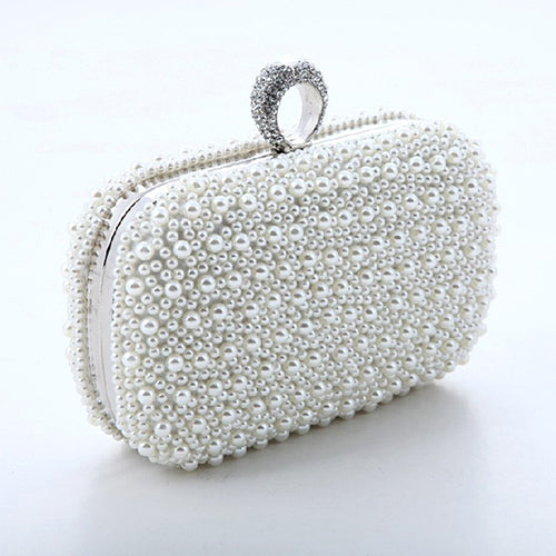 Women Luxury Faux Pearl Beaded Dinner Party Cocktail Bridal Handbag Clutch Purse