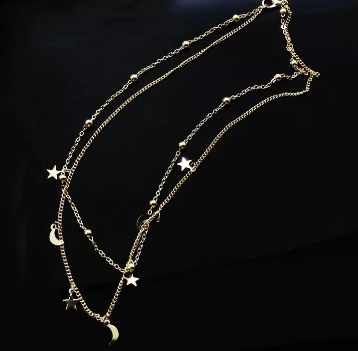 Women's Moon Star Multiple Layers Necklace
