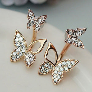 Sweet Lovely Women Girl Rhinestone Butterfly Ear Jacket Stud Earrings Jewelry
