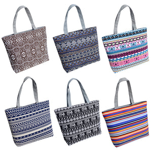 Women Canvas Stripe Tote Bag Shopping Travel Large Capacity Shoulder Handbag